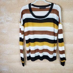 The Limited sweater Sz L Black, Rust & Gold Stripe